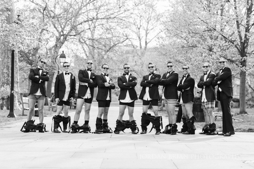 groomsmen portraits at rittenhouse square park before curtis center wedding