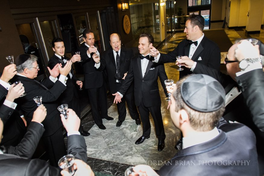 groom before jewish ceremony at curtis center wedding in philadelphia