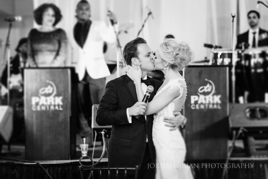 bride groom kiss at curtis center wedding in philadelphia
