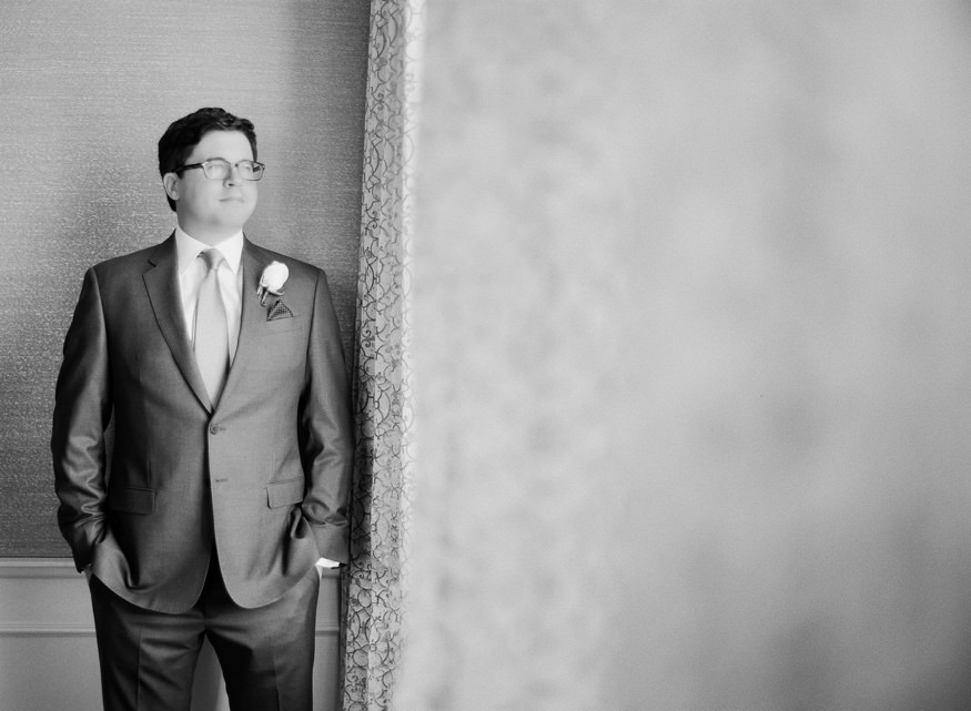 Groom getting ready at Philadelphia Ritz Carlton wedding.