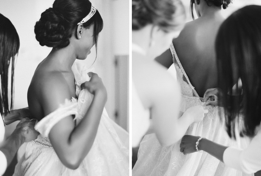 Bride getting ready at Ritz Carlton Philadelphia in Galia Lahav wedding dress.