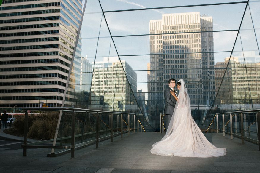 Bride & Groom portraits at City Hall in Philadelphia. Reception at Ritz Carlton Philadelphia wedding.