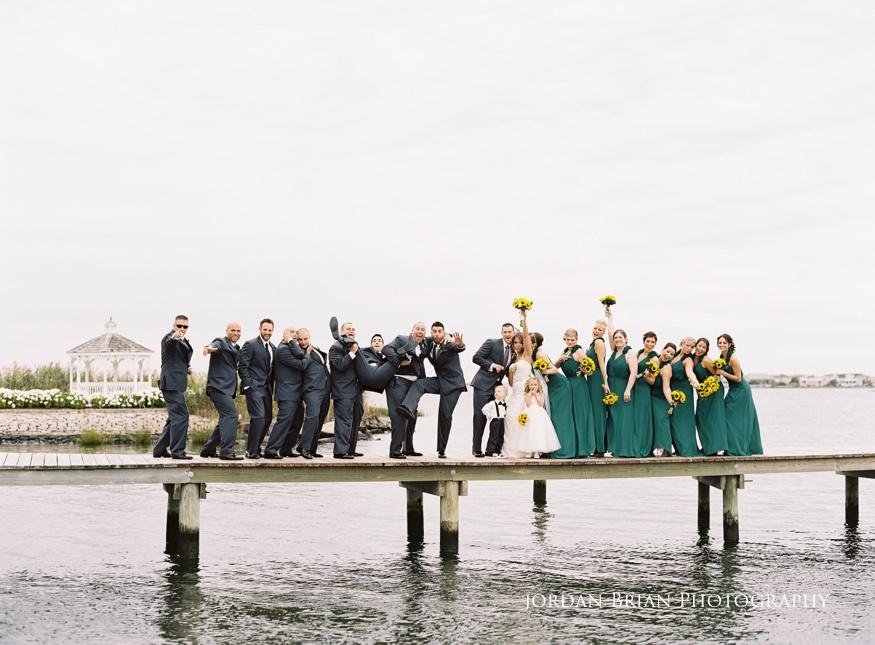 bonnet island wedding bridal party on dock