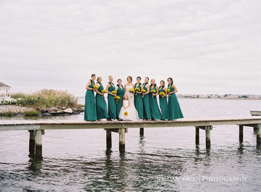 bonnet island estate bridesmaids photos on dock