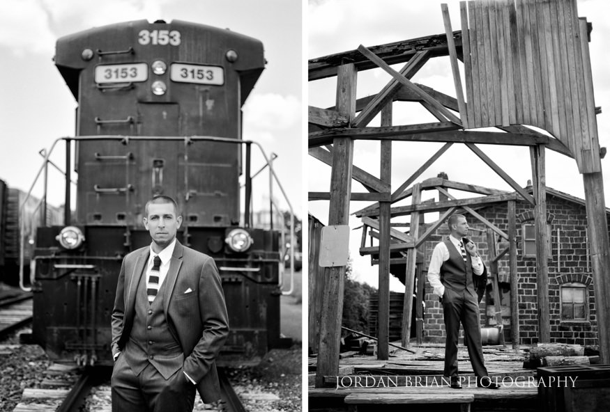 black and white film portrait of groom at a rail yard