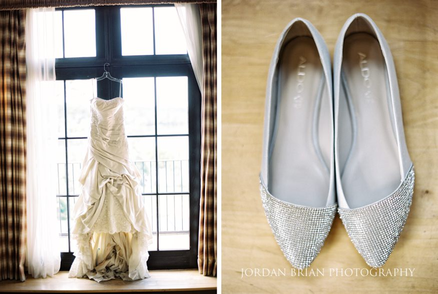 bride's wedding dress and shoes