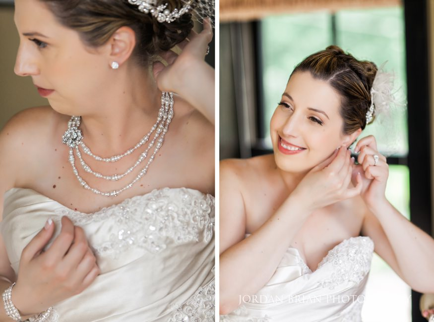 bride putting jewelry on