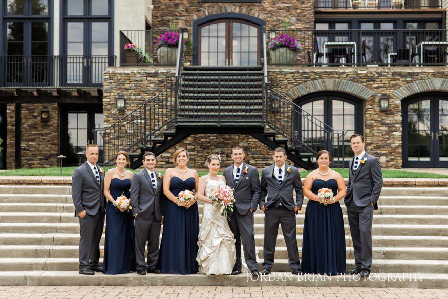 bridal party portrait at lake house inn