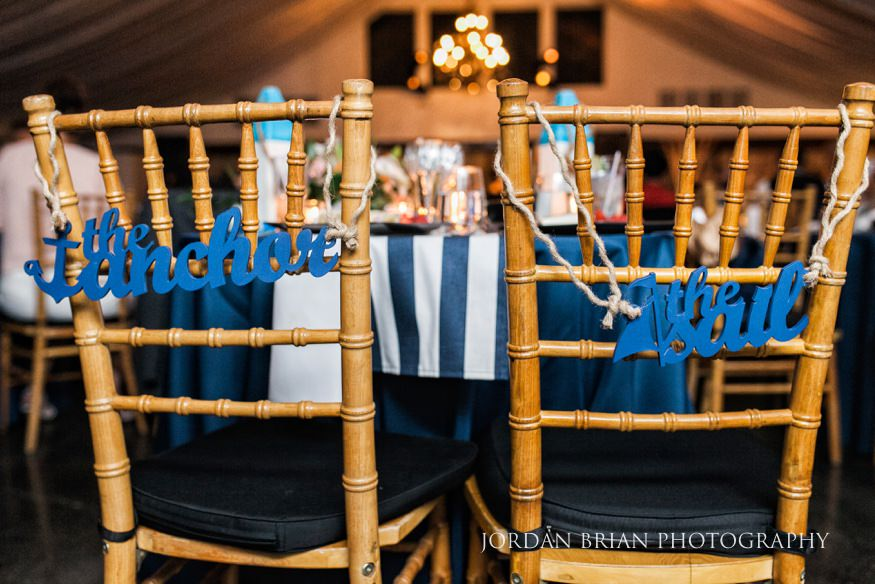 bride and groom chair details