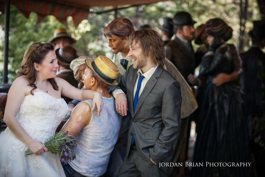 bride and groom photos at grounds for sculpture with Seward Johnson exchibit