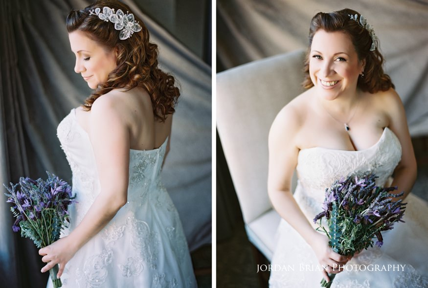 Bridal portraits before Grounds for Sculpture wedding