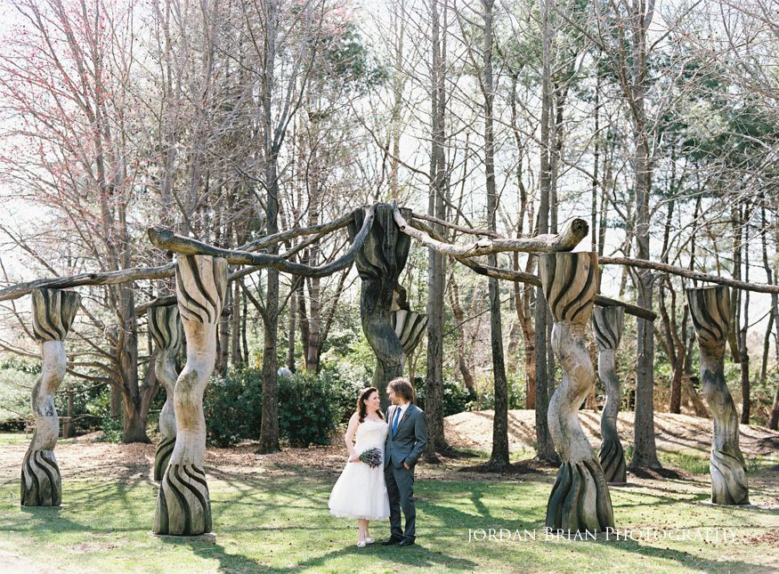 Bride and groom portrait at Baruch Ashem at Grounds for Sculpture wedding