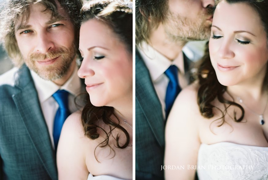 Bride and groom close portraits at Grounds for Sculpture wedding