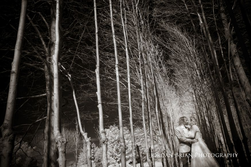 Betwween tree line portraits of couple at Grounds for Sculpture wedding