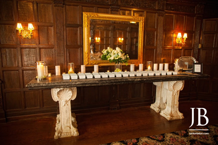 castle at skylands manor wedding placard table