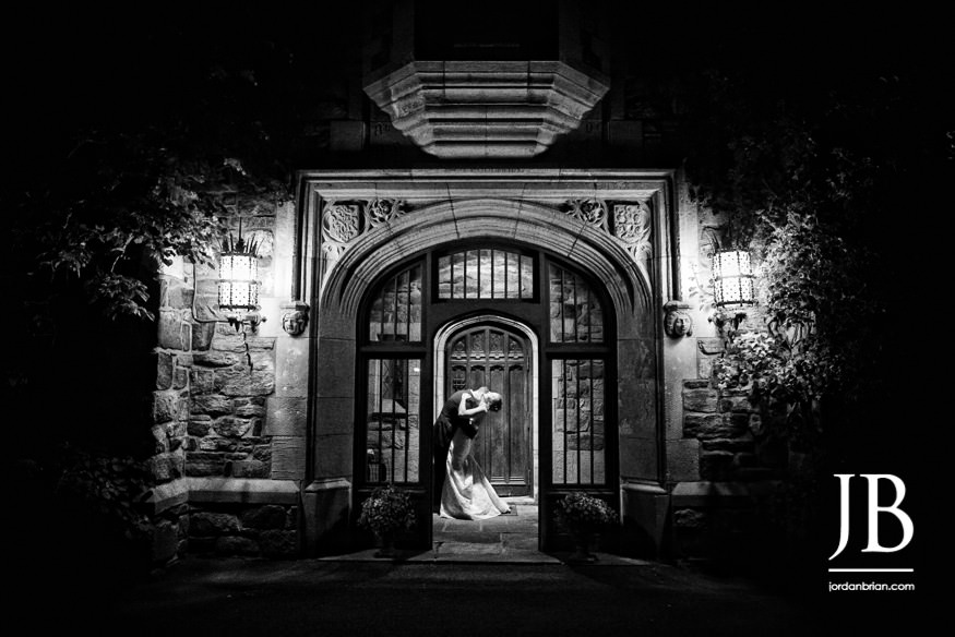 castle at skylands manor wedding bride and groom night photo outside