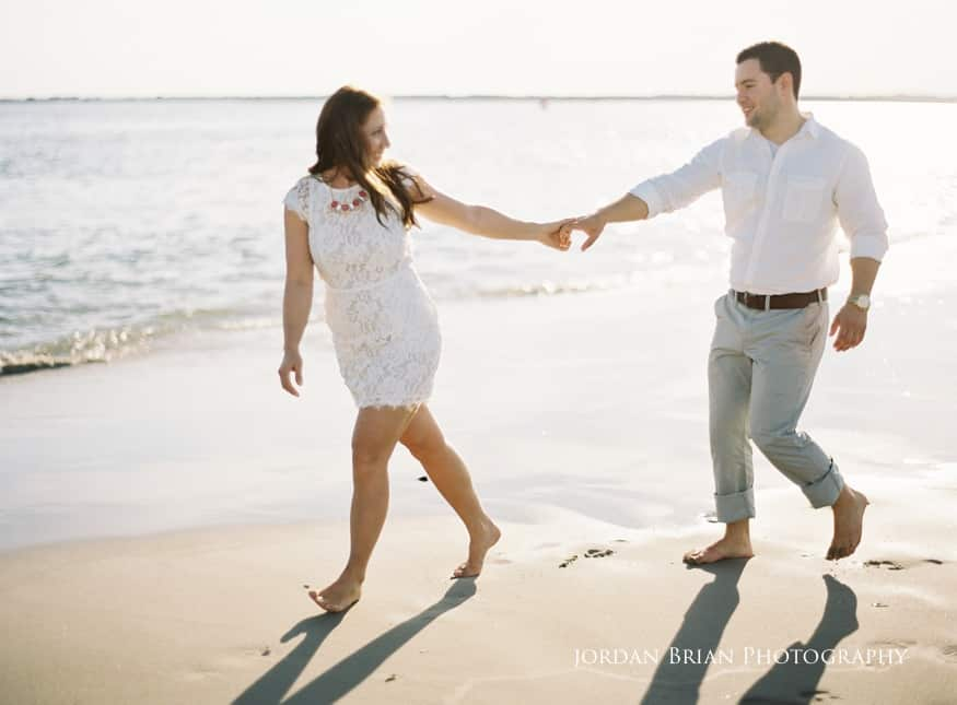 Couple on beach Sea Isle City Engagement photo