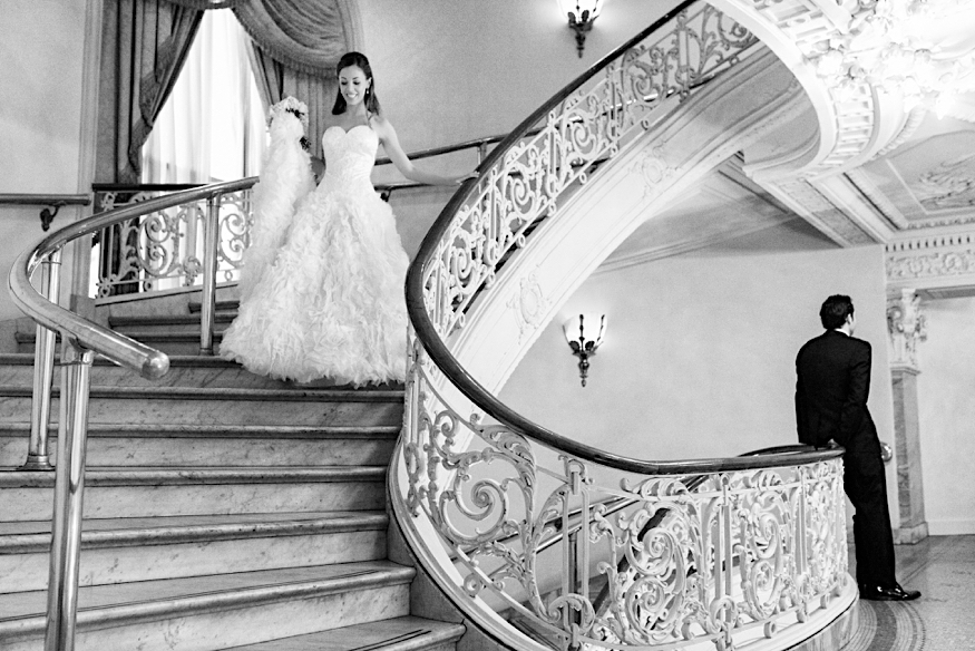 bellevue wedding bride on staircase