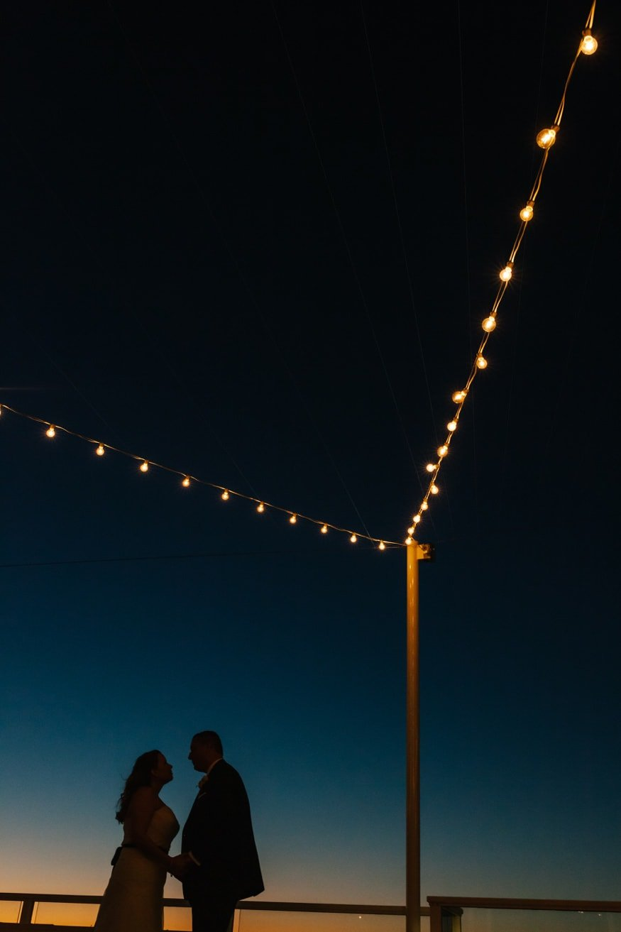 Best Jersey Wedding Venue Reeds Shelter Haven Stone Harbor wedding couple at night outside